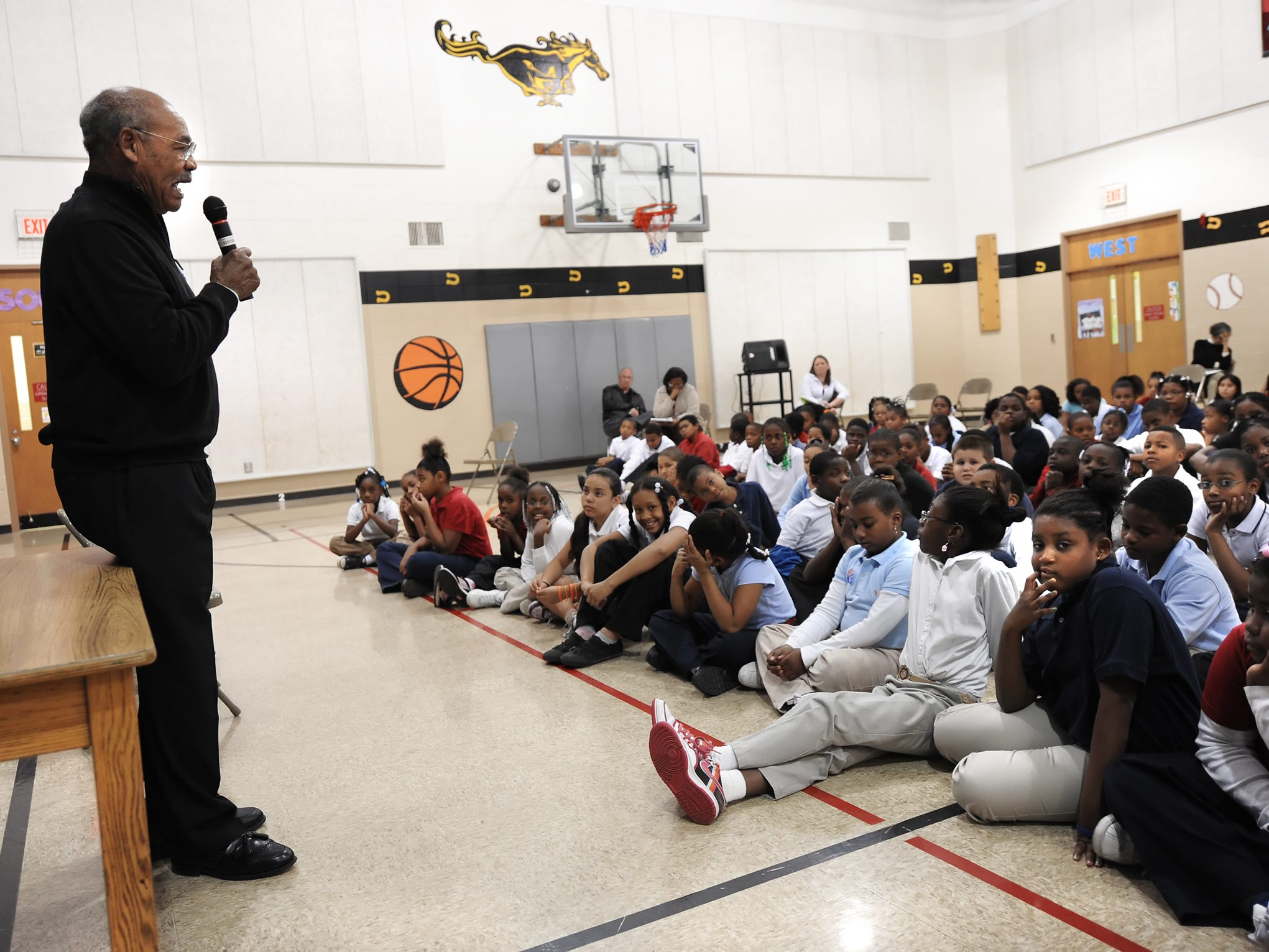 Indiana University football legend George Taliaferro, 91, was the first African American drafted by the All-American Football Conference back in 1949, discussed his personal story of triumph with Robert Lee Frost Elementary School students on Thursday, October 30, 2008.
