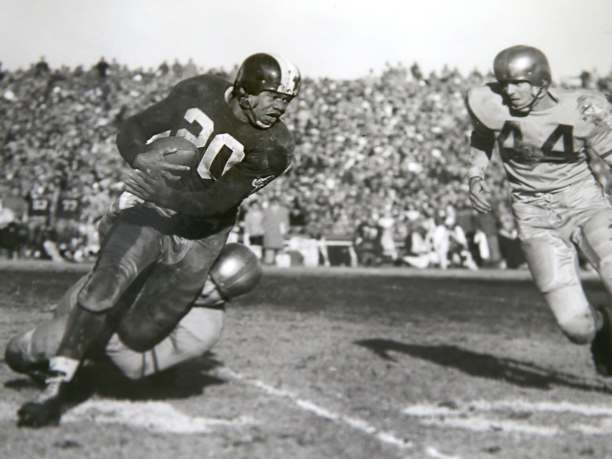 George Taliaferro, 91, former IU football star, was the first African-American drafted by an NFL team. Here is a submitted photo of him when he played for Baltimore Colts.