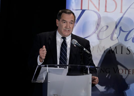 Democratic Sen. Joe Donnelly speaks during a U.S. Senate debate