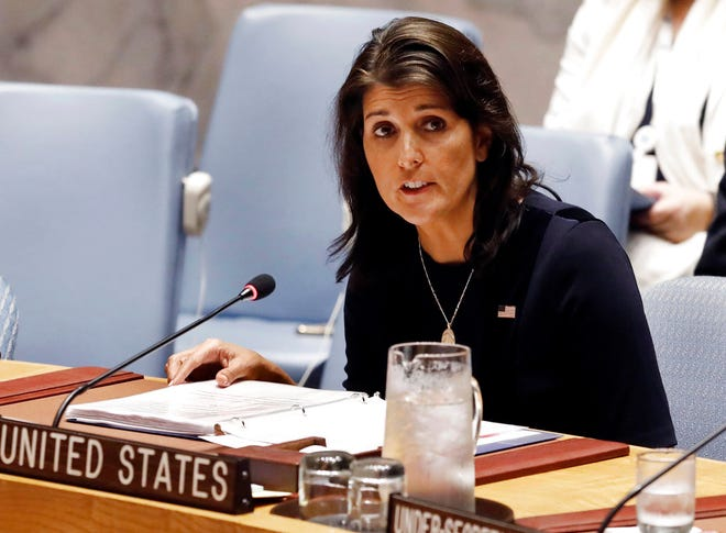 U.S. Ambassador Nikki Haley addresses the United Nations Security Council at U.N. headquarters.