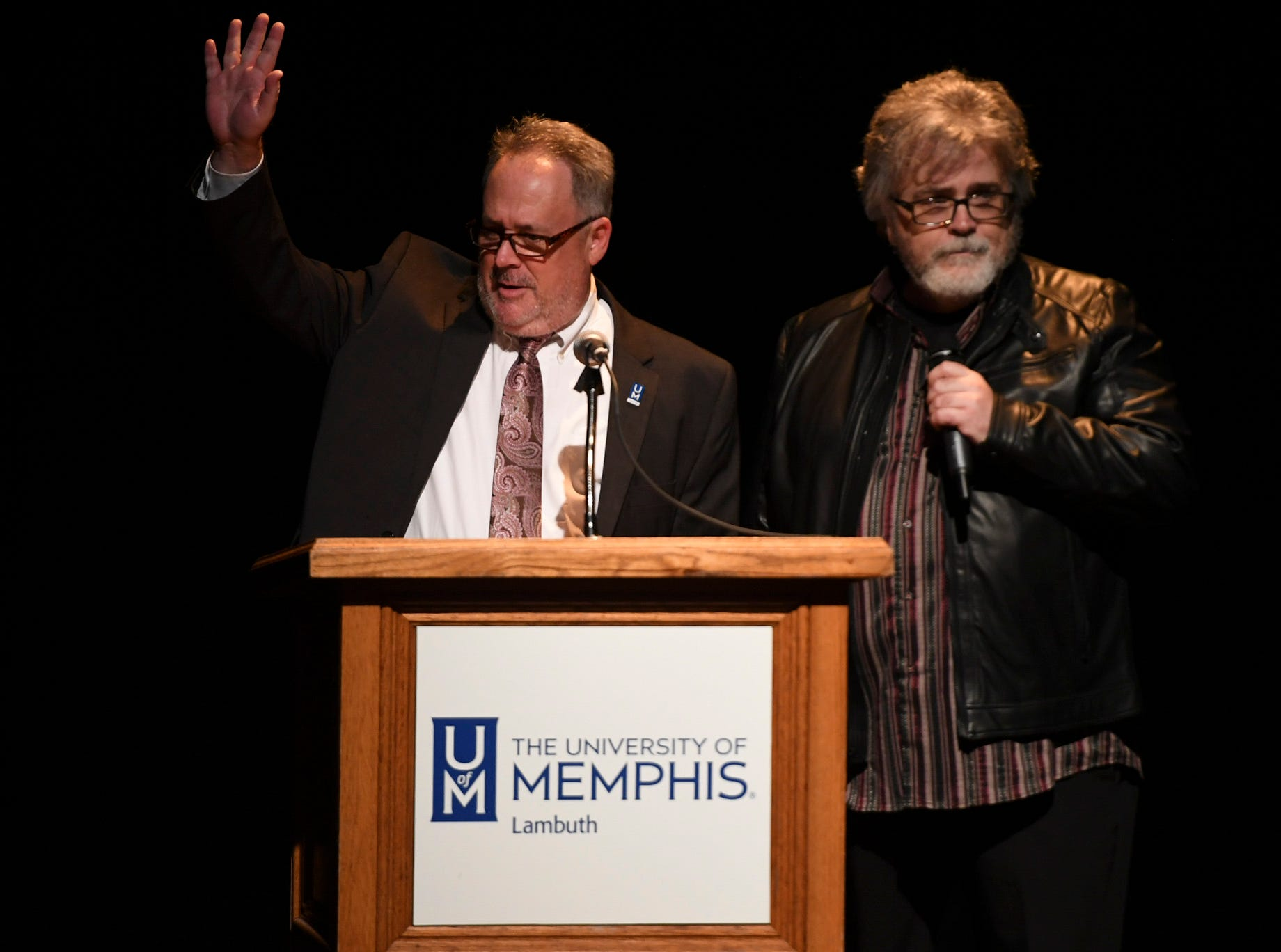 University of Memphis Lambuth's Dr. Niles Reddick and Keith Shirley presented the first Lifetime Achievement Award to WS Holland at the 2nd Annual Tennessee Music Awards, Monday, October 8, at University of Memphis Lambuth.
