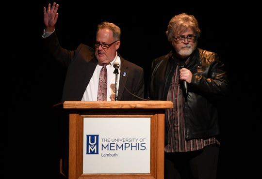 University of Memphis Lambuth's Dr. Niles Reddick and Keith Shirley presented the first Lifetime Achievement Award to WS Holland at the 2nd Annual Tennessee Music Awards last year.
