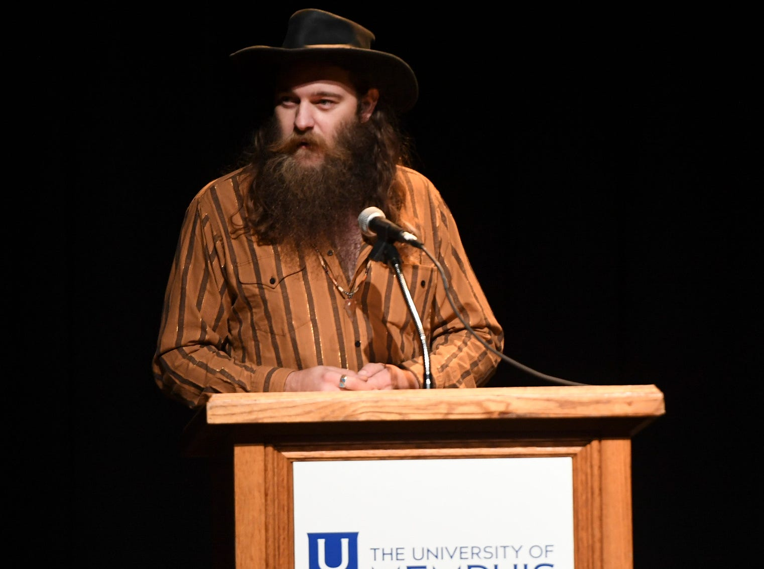 Cotton Clifton speaks on behalf of his band, Cotton Clifton and the Holy Smokes after receiving the award for Indie Artist of the Year at the 2nd Annual Tennessee Music Awards, Monday, October 8, at University of Memphis Lambuth.