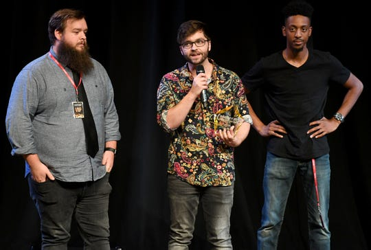 Members of Coopertheband give a speech after being awarded Entertainer of the Year at the 2nd Annual Tennessee Music Awards, Monday, October 8, at University of Memphis Lambuth.
