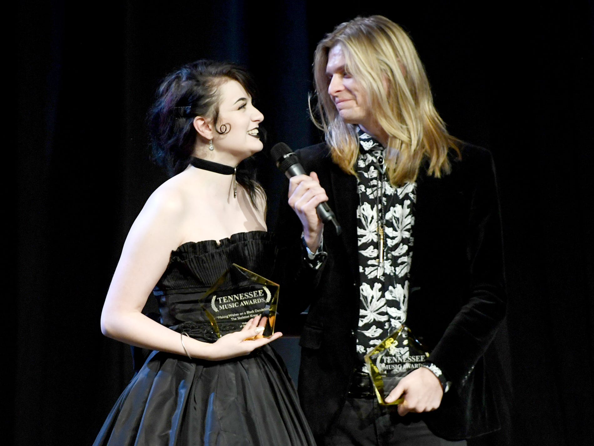 The Skeleton Krew give a speech after being awarded Video of the Year for Making Wishes on a Black Dandelion at the 2nd Annual Tennessee Music Awards, Monday, October 8, at University of Memphis Lambuth.