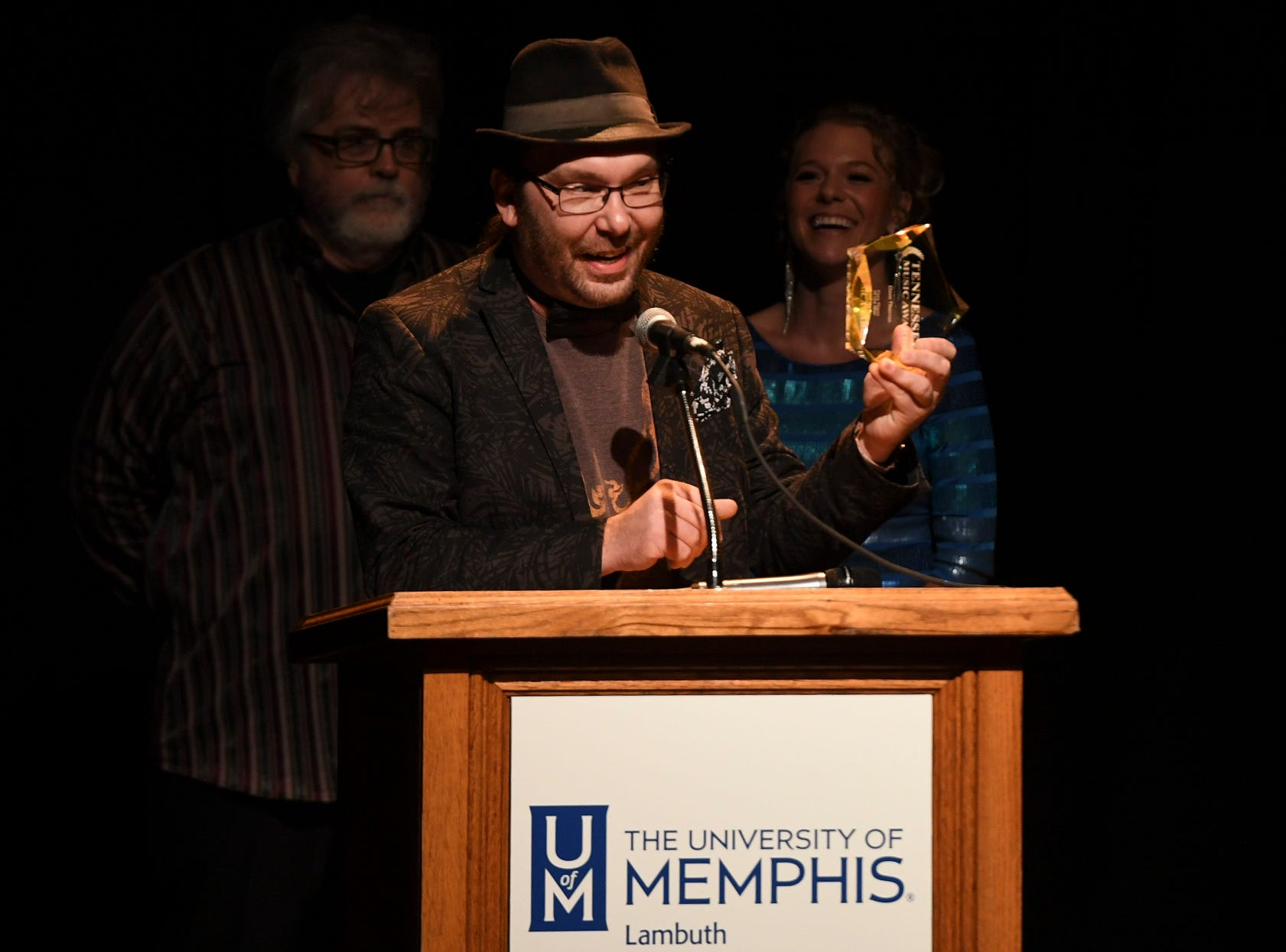 Dave Thomas gives thanks after receiving the award for Keyboard Player of the Year at The 2nd Annual Tennessee Music Awards, Monday, October 8, at University of Memphis Lambuth.