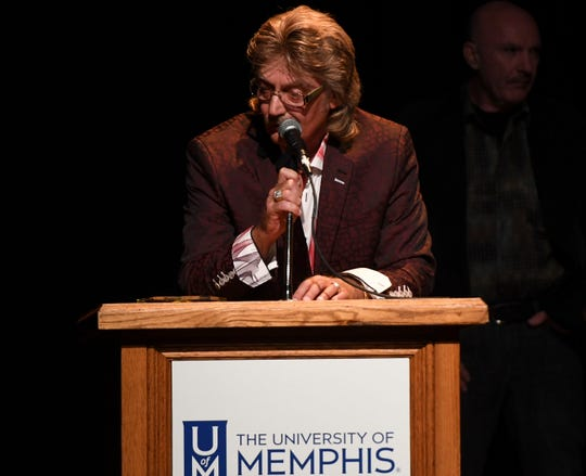 Stan Perkins accepted the Lifetime Achievement Award on behalf of his father, Carl Perkins at the 2nd Annual Tennessee Music Awards, Monday, October 8, at University of Memphis Lambuth.
