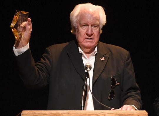 WS Holland thanks the crowd after being presented with the Lifetime Achievement Award at the 2nd Annual Tennessee Music Awards, Monday, October 8, at University of Memphis Lambuth.