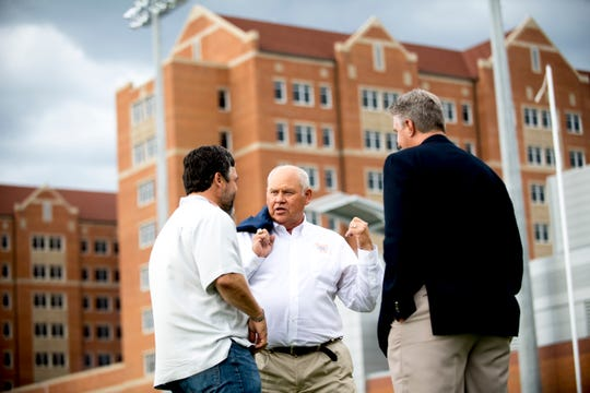 Tennessee Athletic Director Phillip Fulmer chats during Tennessee fall football practice at Haslam Field in Knoxville, Tennessee on Tuesday, October 9, 2018.