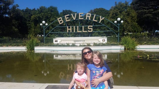 """Tonya McDonald and her daughters Addilyn and Kailey visited Beverly Hills while in California for an """"America's Funniest Home Videos"""" episode taping."""