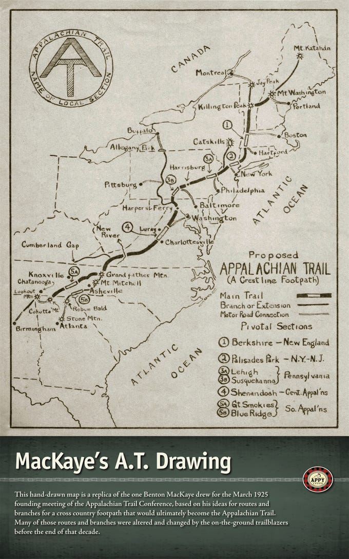 One of dozens of informational exhibits about the Appalachian Trail featured in the lobby of The Appy Lodge in Gatlinburg, Tennessee.