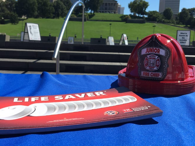 Fire prevention education equipment sits in front of the Tennessee Capitol in Nashville.