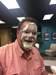 Watch Kevin Foote take a pie to the face over Saints bet