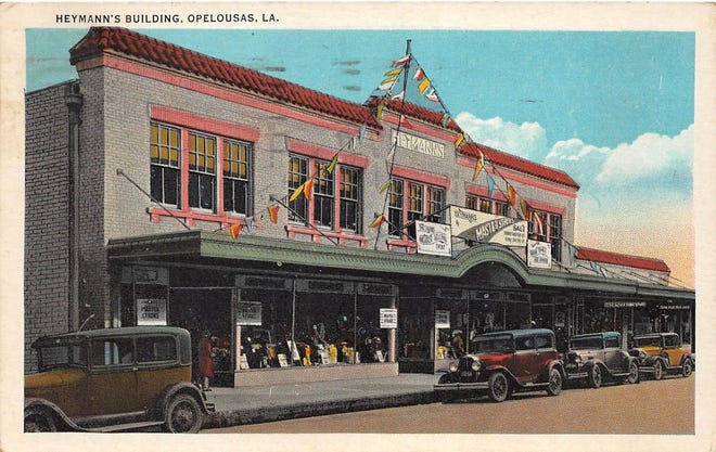 This illustration depicts the Heymann's Department Store building in Downtown Opelousas.