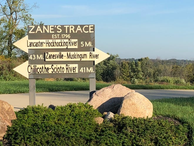 This sign may be seen today on Wheeling Road NE along the route of Zane's Trace. It was constructed for Jim Reed, local historian, by his granddaughter Kasey Golko, her husband Daniel and their son Dominic.