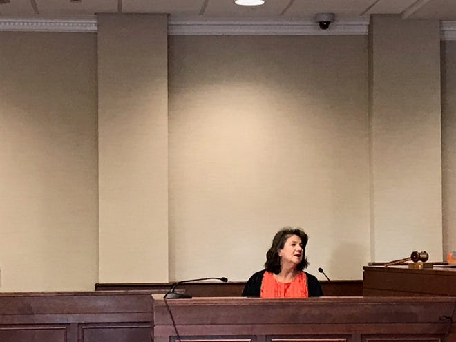 Brighton attorney Shari Pollesch answers questions during the Judicial Tenure Commissions evidentiary hearing into Judge Theresa Brennan.