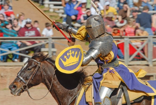 A Medieval knight re-enactor, similar to the one pictured here, died this weekend in Kentucky after accidentally impaling himself with a lance.