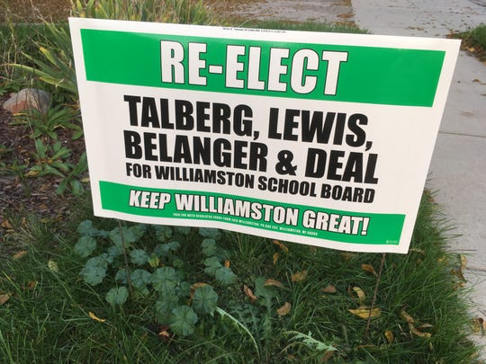 A campaign sign along Grand River Avenue Oct. 8, 2018 in Willliamston. Four incumbents are facing a recall against four challengers. Voting for an incumbent in the recall means you are voting against the recall.