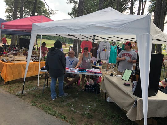 First-time exhibitors She Believed Creations and Mystic Fairy Tale Gifts were pleased with the turnout at the 40th Olive Branch Octoberfest on Oct. 6.