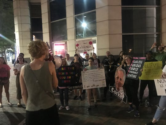 A group of 60 or more protesters went outside the office of Sen. Bob Corker (R) to protest the confirmation of Brett Kavanaugh as Supreme Court Justice.
