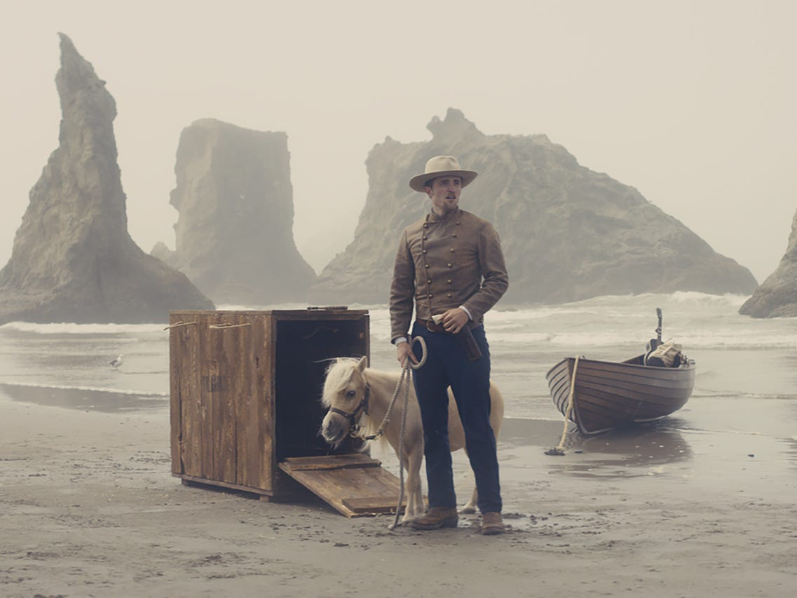 "Robert Pattinson (and his miniature horse) star in the oddball Western ""Damsel."""