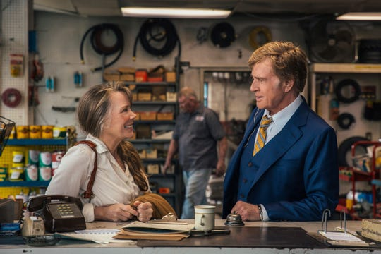 "Robert Redford (right)) plays an aged bank robber who makes a connection with a woman he meets along the way (Sissy Spacek) in ""The Old Man & The Gun."""
