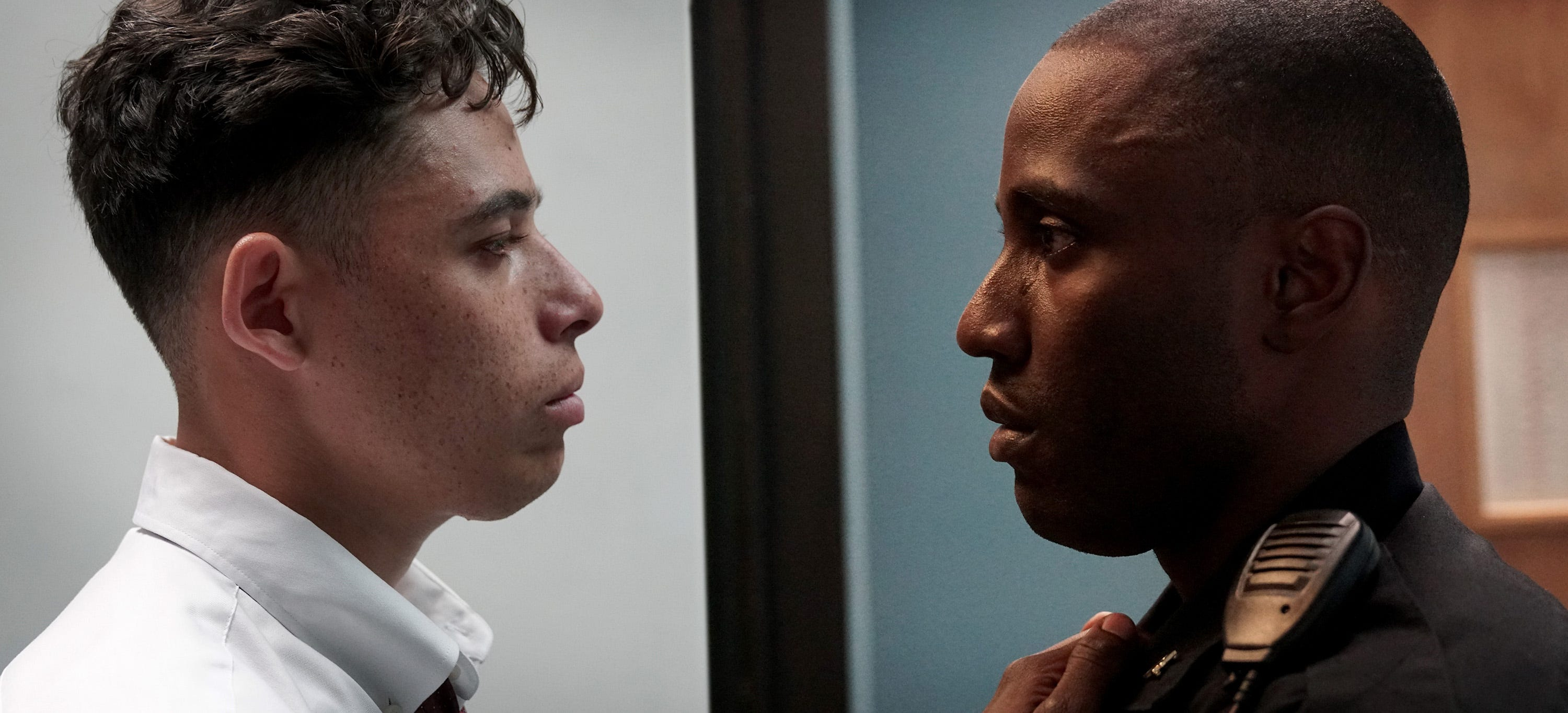 "Anthony Ramos and John David Washington star in ""Monsters and Men""."
