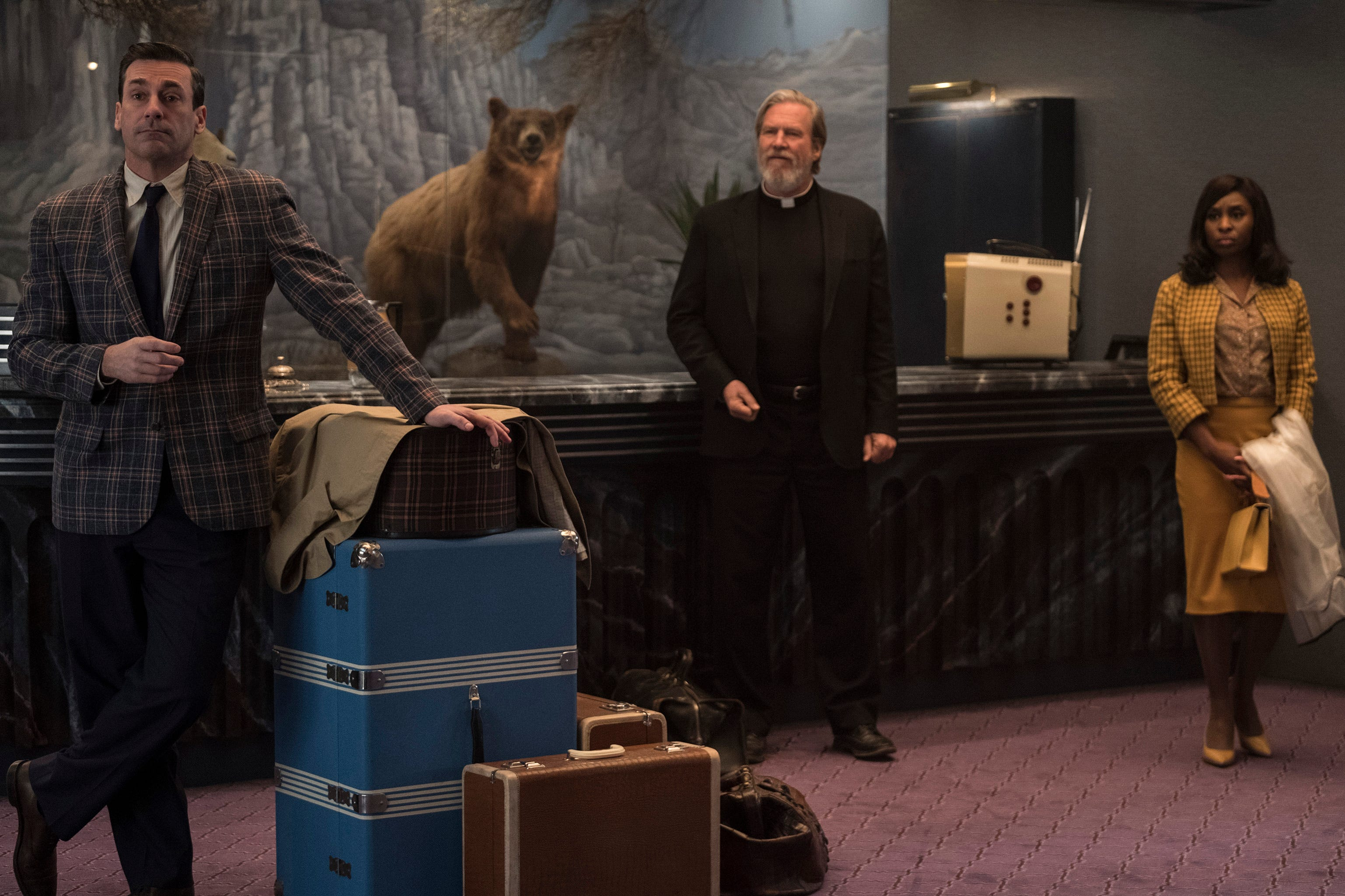 """Jon Hamm (from left), Jeff Bridges, and Cynthia Erivo are staring at some """"Bad Times at the El Royale."""""""