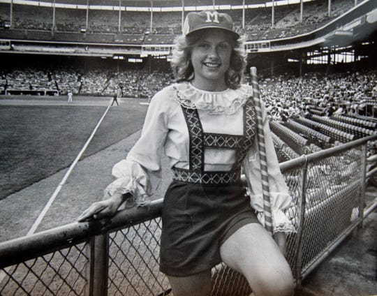 Anne Haines poses in her Bonnie Brewer outfit at County Stadium in 1979. She was the last Bonnie Brewer after 6 years.