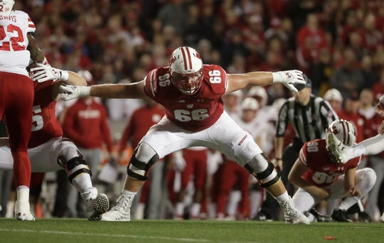Wisconsin offensive lineman Beau Benzschawel stands his ground during a game against Nebraska this season.