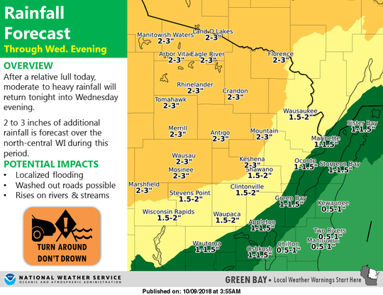 Heavy rain is forecast across northern and central Wisconsin through Wednesday night.
