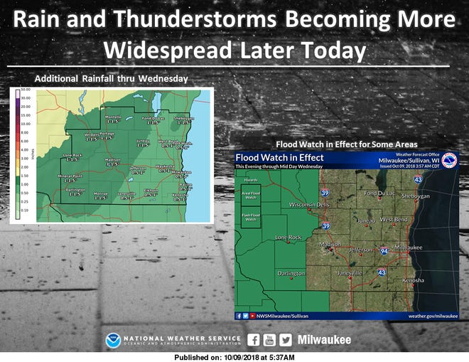 Flood watches are posted north and west of the Milwaukee metro area as heavy rain is expected across the state through Wednesday.