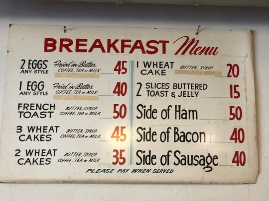 Mickies Dairy Bar in Madison displays one of its menus from the 1950s.