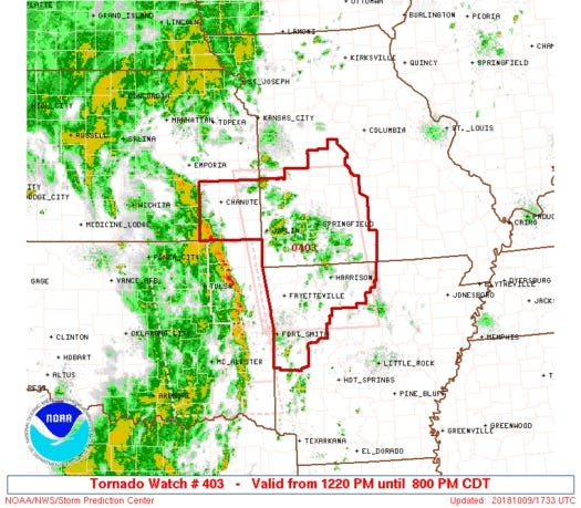 A tornado watch including Baxter and Marion counties is in effect until 8 p.m. Tuesday.