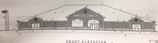 Construction specifications show the front elevation of the proposed Veterans Affairs outpatient medical clinic in Muncie.