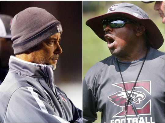 Columbia Academy coach Charlie Lansdell (left) and Eagleville coach Floyd Walker (right)