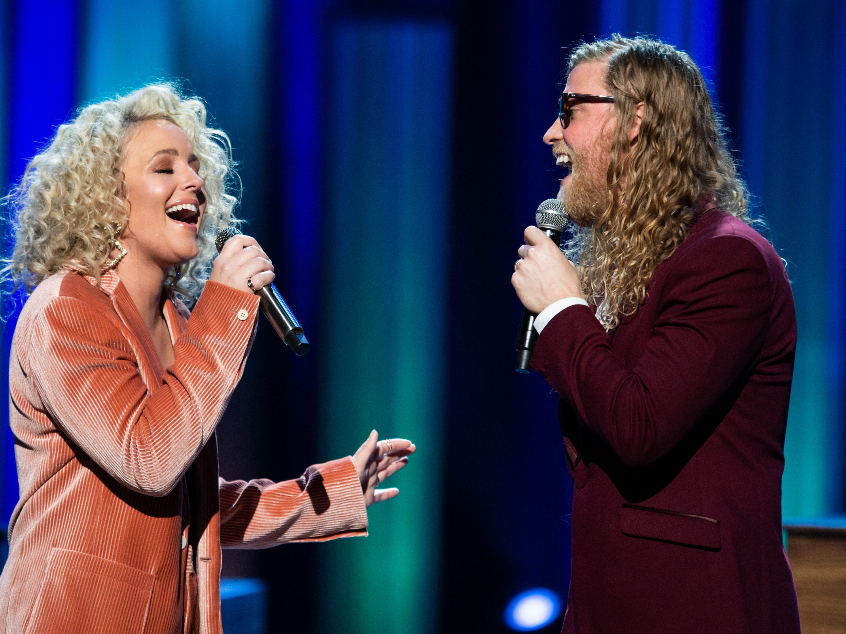 Cam and Allen Stone perform during the An Opry Salute to Ray Charles concert at The Grand Ole Opry in Nashville, Tenn., Monday, Oct. 8, 2018.