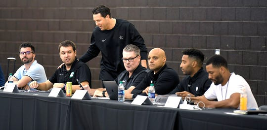 Vanderbilt coach Bryce Drew greets scouts from NBA teams during Pro Day at Vanderbilt on Tuesday, Oct. 9, 2018.