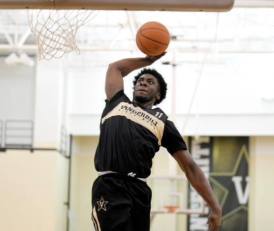 Simi Shittu (11) dunks the ball during a Pro Day at Vanderbilt on Tuesday, Oct. 9, 2018.