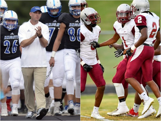 Maplewood (right) captured a 26-21 second-round playoff win over Nolensville (left) last season.