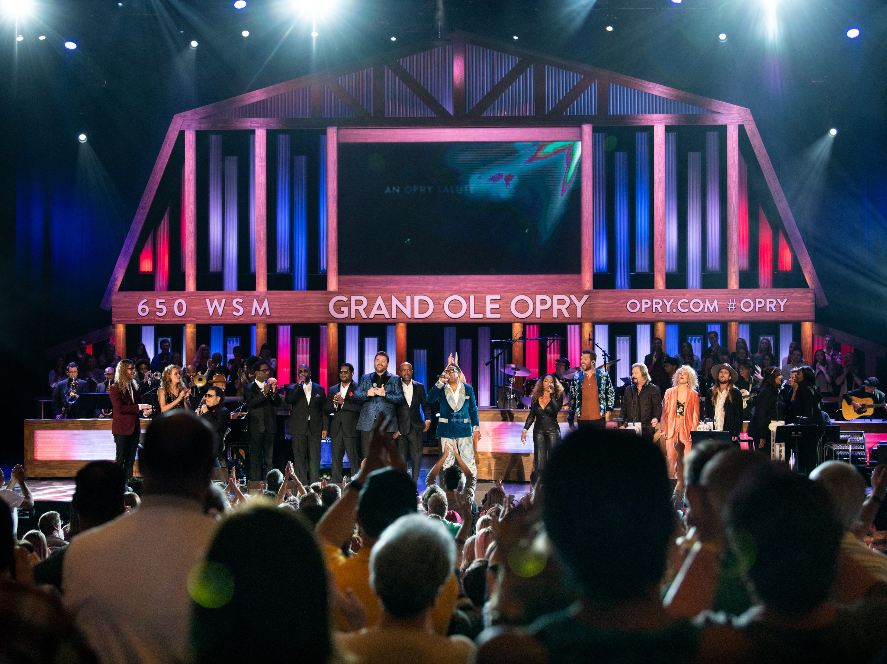 All of the performers come together for the final performance during the An Opry Salute to Ray Charles concert at The Grand Ole Opry in Nashville, Tenn., Monday, Oct. 8, 2018.