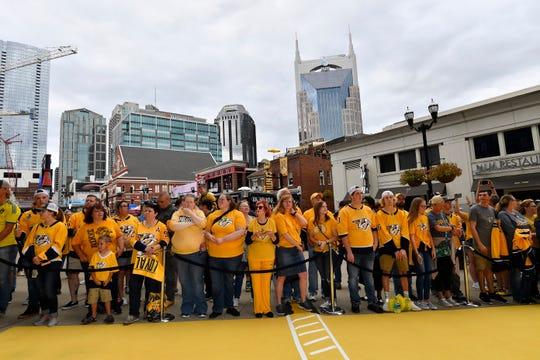Predators fans wait for the start of the Gold Walk before the home opener at Bridgestone Arena in Nashville, Tenn., Tuesday, Oct. 9, 2018.