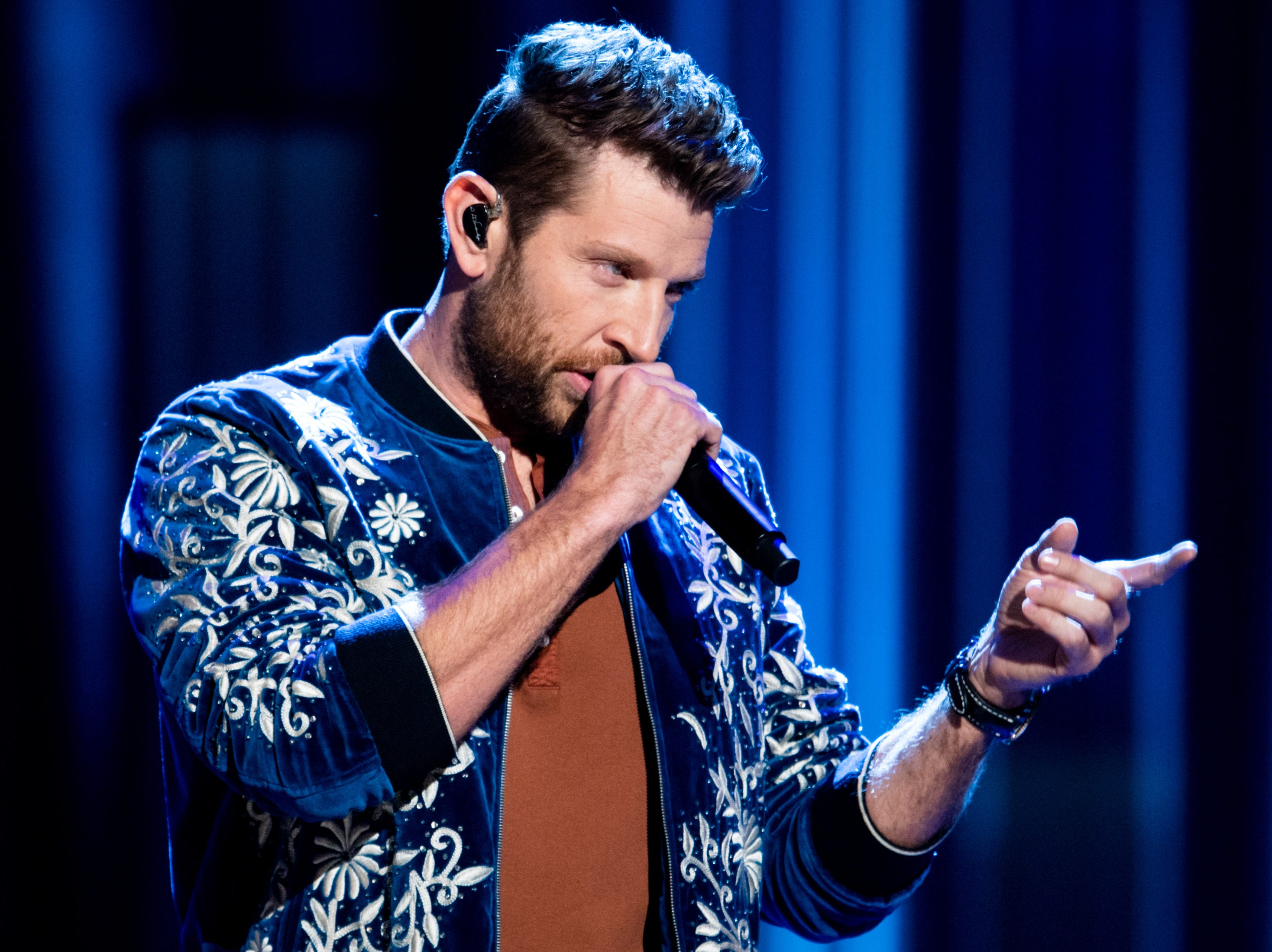 Brett Eldredge performs during the An Opry Salute to Ray Charles concert at The Grand Ole Opry in Nashville, Tenn., Monday, Oct. 8, 2018.