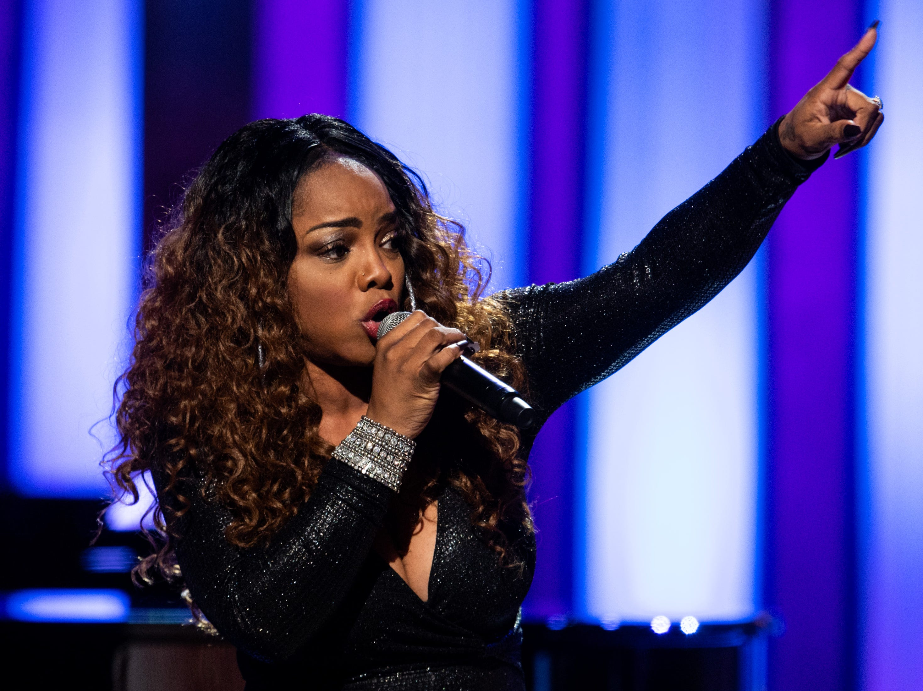 Leela James performs during the An Opry Salute to Ray Charles concert at The Grand Ole Opry in Nashville, Tenn., Monday, Oct. 8, 2018.