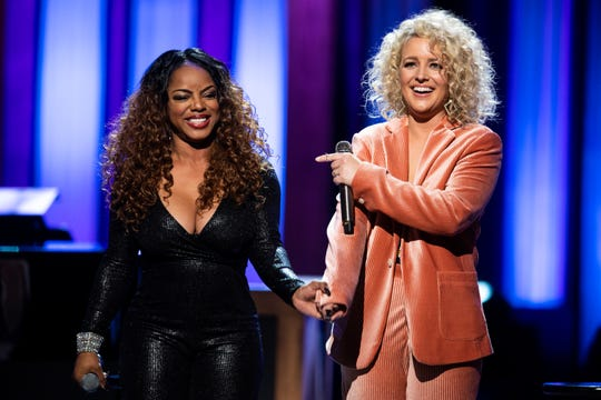 Leela James and Cam perform during the An Opry Salute to Ray Charles concert at The Grand Ole Opry in Nashville, Tenn., Monday, Oct. 8, 2018.