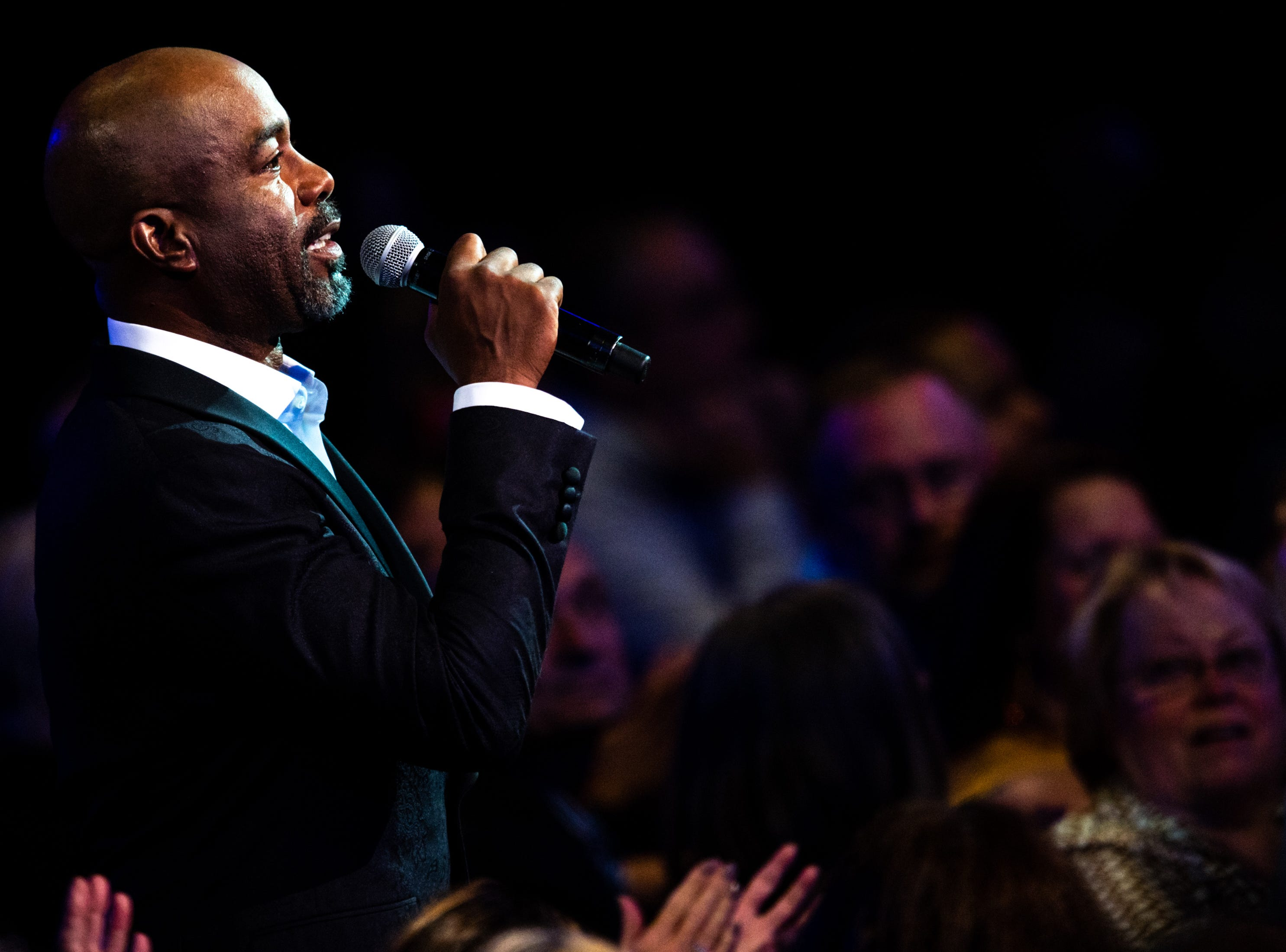 Darius Rucker speaks while hosting the An Opry Salute to Ray Charles concert at The Grand Ole Opry in Nashville, Tenn., Monday, Oct. 8, 2018.