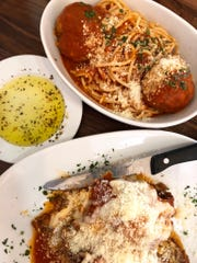 A plate of lasagna and spaghetti and meatballs from Cirella's Italian Bistro & Sushi Bar in North Naples.