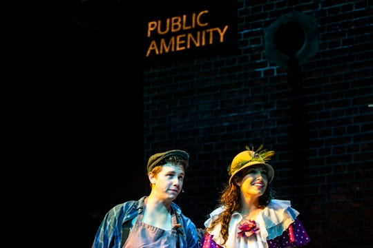Christopher Lewis, as Bobby Strong, and Julia Hajjar, as Hope Cladwell, rehearse a scene for TheatreZone's upcoming production of Urinetown in collaboration with Florida Gulf Coast University in Fort Myers on Monday, Oct. 8, 2018. Urinetown is a hilarious musical satire of the legal system, capitalism, social irresponsibility, populism, bureaucracy, corporate mismanagement, municipal politics and musical theatre itself.