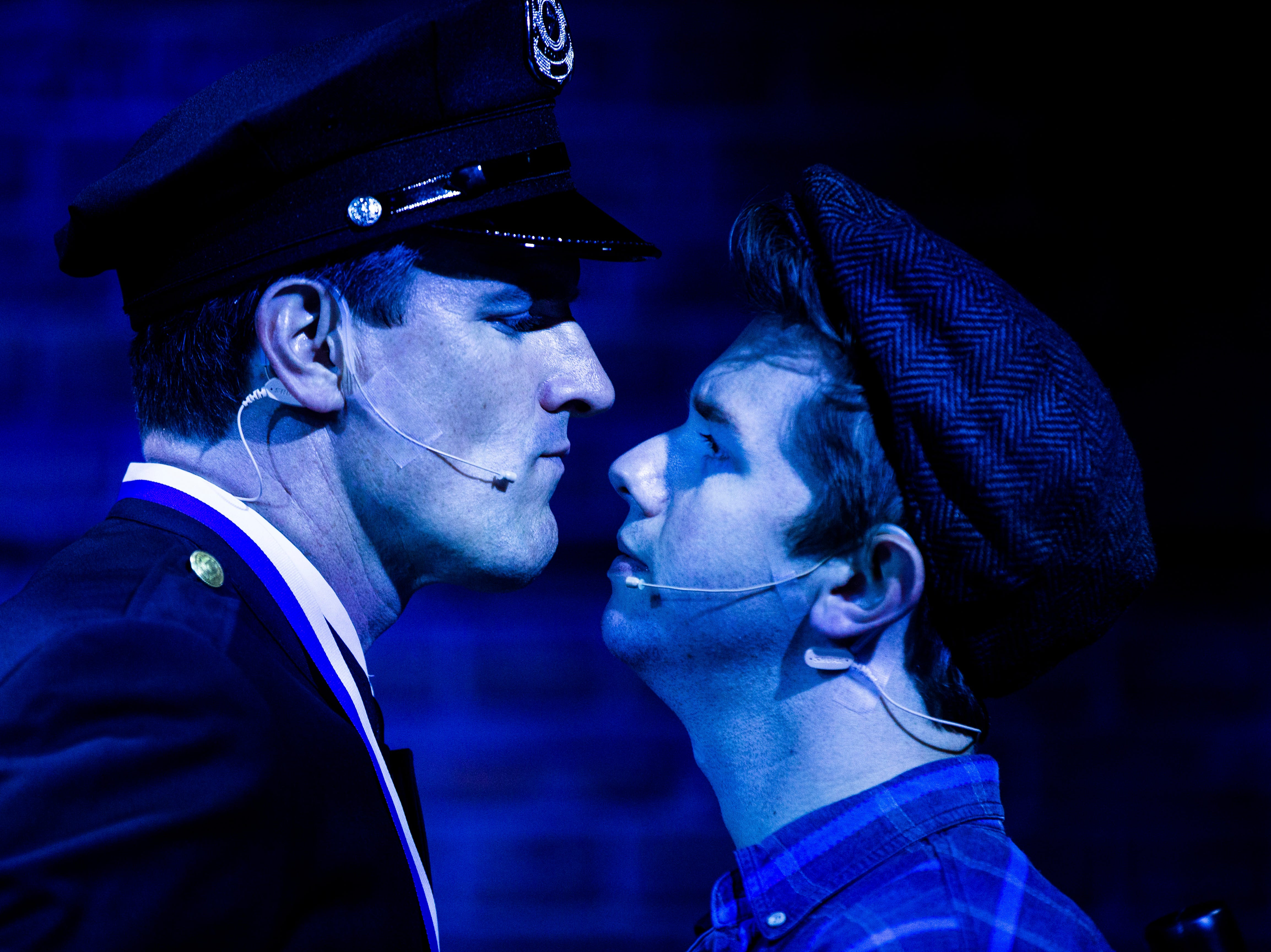 Gerritt VanderMerr, left, as Officer Lockstock, and Christopher Lewis, as Bobby Strong, rehearse a scene for TheatreZone's upcoming production of Urinetown in collaboration with Florida Gulf Coast University in Fort Myers on Monday, Oct. 8, 2018. Urinetown is a hilarious musical satire of the legal system, capitalism, social irresponsibility, populism, bureaucracy, corporate mismanagement, municipal politics and musical theatre itself.