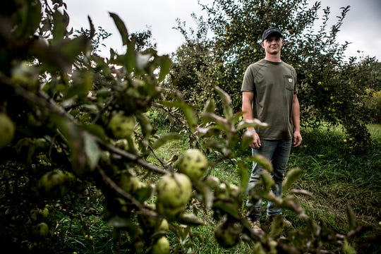 Seth Dobbelaer poses for a photo at Charlie's Apple Orchard in Fredonia.  Seth Dobbelaer runs the organic orchard with his brother.